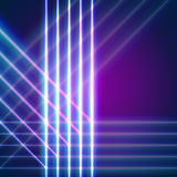 Bright neon lines background. With 80s style and chrome letters Stock Photo