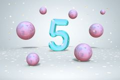 Bright neon number 5, flying balls purple, blue, pink gradients colors, and gold confetti on light background, fifth year of. Birth, 3d rendering royalty free illustration