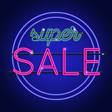 Bright Neon super sale sign. Vector background for your advertis Stock Images