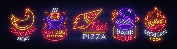 Bright neon symbols for food. Collection Design Elements, Neon Signs for Food, Chicken Meat, Hot Dog Fast Food, Fast. Pizza, Barbecue, Hot Mexican Food.Vector Stock Photos