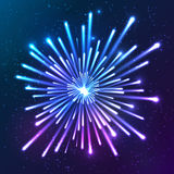 Bright neon vector firework. Bright neon shining lights blue and violet vector firework Royalty Free Stock Photography