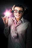 Bright And Nerdy Business Woman With Smart Idea Stock Photos