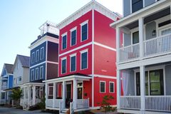 Bright new homes. Colorful new homes in Raleigh North Carolina royalty free stock photos