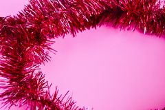 Bright New Year`s Christmas background from red tinsel. stock photography