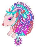 Bright nice hedgehog ethnic doodle vector illustration Stock Photo