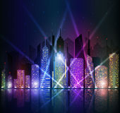 Bright night cityscape Royalty Free Stock Image