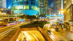 Bright night light hong kong high traffic bridge panorama 4k time lapse china stock video footage