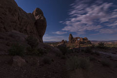 Bright night sky from the full moon over Turret Arch Stock Photography