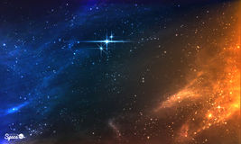 Bright Night Sky with star cluster. Vector illustration. Stock Image