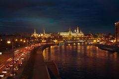 Bright night urban landscape, Moscow Stock Images
