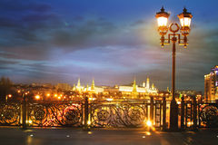 Bright night urban landscape, Moscow Stock Photos