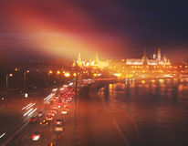 Bright night urban landscape, Moscow Stock Photography
