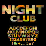 Bright NightClub retro font with numbers Royalty Free Stock Image
