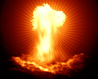 Bright nuclear explosion Royalty Free Stock Image
