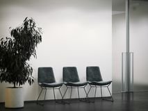 Bright office entrance with waiting area. 3d rendering. Bright office entrance with waiting area and dark chairs. 3d rendering Stock Photo