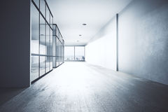 Bright office hallway. Interior with equipment, city view and daylight. 3D Rendering Royalty Free Stock Photo