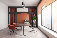 Bright office interior. Bright orange office interior with furniture, city view and daylight. 3D Rendering vector illustration