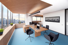 Bright office with panoramic window. 3d illustration Royalty Free Stock Photos