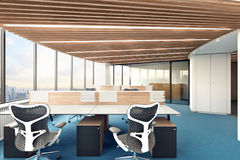 Bright office with panoramic window. 3d illustration Stock Image