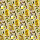 Bright olives seamless pattern. Olives branch, oil bottle and jar. Vector doodle background. Stock Photos
