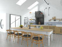 Bright Open Concept Kitchen and Dining Area Stock Images