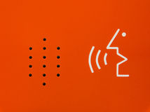Bright Orange Abstract Diagram Speaker Emergency Contract Device Stock Image