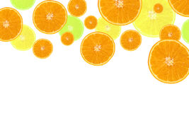 Bright orange background. Background of the pieces of bright ripe oranges isolated Stock Photos