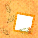 Bright orange background with frame. Bright orange background with decorated frame and stitched border Stock Images