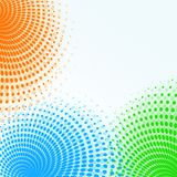 Bright orange blue green halftone circles abstract background illustration. Bright halftone circle and dot shapes in modern shades of orange, blue, and green Stock Images