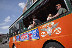 Bright Orange Bus in Boston Stock Photography