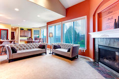 Bright orange color scheme for living room Royalty Free Stock Photo