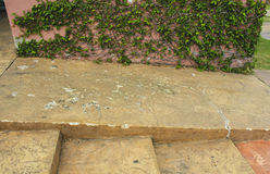 Bright orange concrete steps and ramp way for support wheelchair. Disabled person Royalty Free Stock Photo