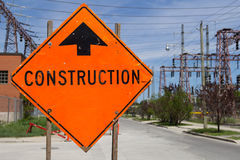 Bright Orange Construction Sign Royalty Free Stock Photos