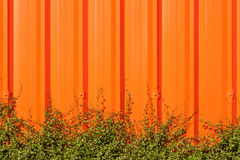 Bright orange corrugated painted metal wall background contrasts Royalty Free Stock Image