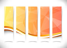 Bright orange crystal structure flyers gold border Stock Photos