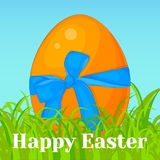 Bright orange Easter egg with blue bow in grass. Holiday background, greeting card, poster or placard template in cartoon style. V Stock Image