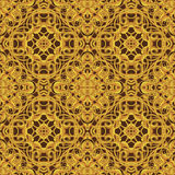 Bright Orange Fantastic Seamless Pattern with fantastic leaves i Royalty Free Stock Photos