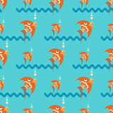 Bright orange fish on a blue background with waves and bubbles. Seamless pattern Royalty Free Stock Images