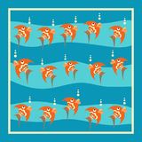 Bright orange fish with bubbles on a blue background. Pattern with white frame Stock Image