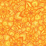 Bright orange floral seamless pattern Stock Photography