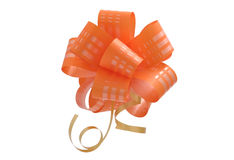 A bright  orange gift bow Royalty Free Stock Photos