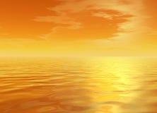Bright Orange Glowing Skyscape. 3d Romantic Bright Orange Glowing Skyscape Sunset Royalty Free Stock Photos