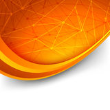 Bright orange intricacy molecule background. Swoosh waves lines. Vector illustration Stock Images