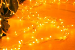 Bright Orange LED Lights for a Christmas Party or Halloween Event stock image