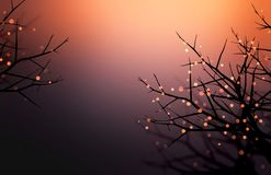 Bright orange lights garlands on the branches of trees. Halloween decorated blurred black orange background. Night abstract backgr. Stylish image for a variety Royalty Free Stock Photography