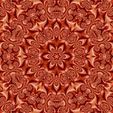 Bright orange mandala, red and orange kaleidoscope effect silk stock photography