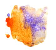 Bright orange paint mixed with purple. Watercolor abstract blot royalty free stock images