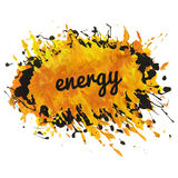 Bright orange paint spot with splashes and text. Energy can be used like template, design element, background, etc Royalty Free Stock Image