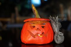 Bright orange pumpkin. For holiday Halloween Royalty Free Stock Photo
