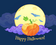 Bright orange pumpkin with violet curly cloud blue bats silhouettes and Happy Halloween sign on yellow moon at dark Stock Photos